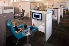 "Contract - Steelcase.  Interesting open viewing ""pods?"""