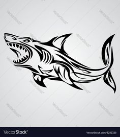 Shark tribal vector 2252325 - by VectoryOne on VectorStock® Fishing Tribal Tattoo Designs, Tribal Shark Tattoos, Tattoo Tribal, Tribal Art, Hai Tattoos, Cool Tattoos, Tribal Animals, Shark Art, Fish Vector
