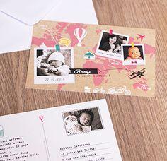 Faire-part Voyage naissance - un faire part naissance thème voyage format carte postale avec carte du monde - polaroid - parcours voyage - timbre