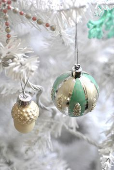 with mini glass pinecones sequin bird and flocked baubles pearlised owls vintage christmas tree decorations vintage inspired christmas dec - Pastel Green Christmas Decorations