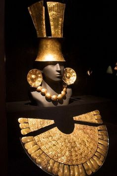 Inca jewellery worn by nobility. Inti, or the sun, was the most important god in Inca culture and as gold shone like the sun it held a major role in religious ceremony.