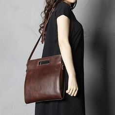 Brown Leather Satchel Handbag via Women's Fashion Bags. Click on the image to…