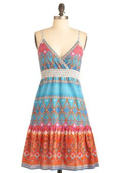 Size S $25.00 shipped.  East Meets Dress. Theres so much to appreciate about this lovely cotton sundress. #multi #modcloth
