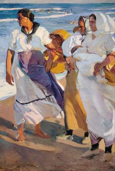 Landscape painting Valencian Fisherwomen Joaquin Sorolla y Bastida art reproduction High quality Hand painted Spanish Painters, Spanish Artists, Claude Monet, Figure Painting, Painting & Drawing, Painting Lessons, Art Plage, Google Art Project, Inspiration Art