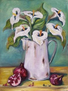 Shades of life by Thea Burger: Arum lilies & pomegranetes