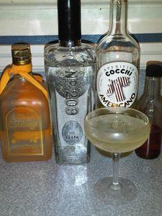 H and H cocktail- 2 oz gin, 1 oz Cocchi Americano, 3 dash Curacao