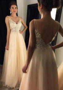 Golden Grenadine Pailletten V-Ausschnitt Rückenfreies Schöne Maxikleid Tüllkleid Verlobungskleider Abendkleid Ballkleid