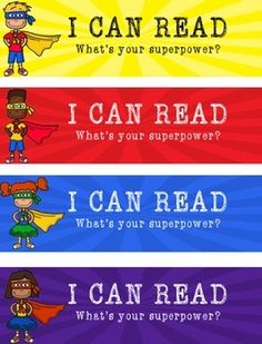 Superhero Bookmarks - I Can Read. What's Your Superpower?