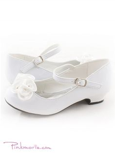 White Roses Ornamental Flower Girl Shoes