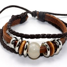Natural Stone Bead Copper Alloy Black/Brown Leather Bracelet Bangle Women/Man Party Fashion Brand Design Wood Jewelry Statement