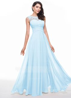 A-Line/Princess Scoop Neck Floor-Length Chiffon Tulle Prom Dress With Ruffle Beading Flower(s) (018056791)
