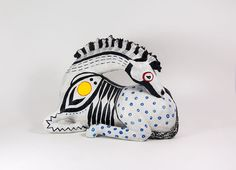 OOAK Paper Mache Lying Down Totem Horse Sculpture - Black, White, Red, Blue, and Yellow - Mixed Media - Animal