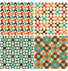 Set retro seamless geometric patterns vector by elenapro on VectorStock®