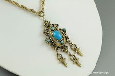 Celebrity Necklace Gold Tone Turquoise & Red Ruby by JessesVintage, $19.99