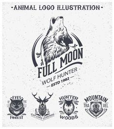 Animal logo illustration vintage vector material 01
