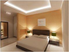 Парящий натяжной потолок в спальне с закарнизной подсветкой