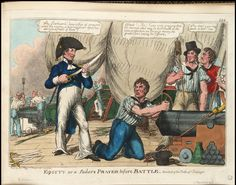 Thomas Tegg. 'Equity or a Sailor's Prayer before Battle. Anecdote of the Battle of Trafalgar' (caricature). circa 1805. National Maritime Museum.