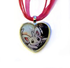 Minccino Pokemon necklace made from upcycled by CharmingSushi