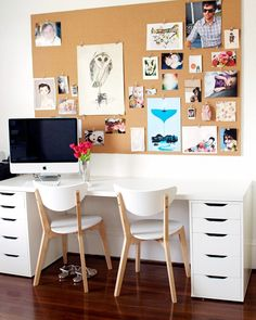 office, love the desk but only one chair. and i like the big cork board and drawers, too!