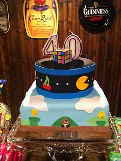 52 Weeks of Sweets: PacMan and Mario! happy birthdays, dariel birthday, birthday idea, 80s cake, birthday cake, 30th birthday