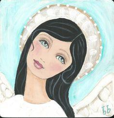 PRAYER ANGEL folk art print of original painting by bonnesinger