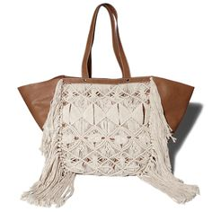 Oversized tote with shoulder straps and fringe macrame embellishment, Imported