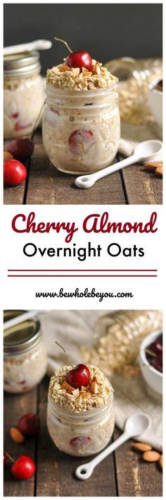 Breakfast is so important so don't skip it because you have no time. Make these Cherry Almond Overnight Oats ahead of time and you will have a healthy breakfast ready and waiting in the morning! Overnight Oatmeal, Overnight Breakfast, Keto, Oatmeal Recipes, Healthy Breakfast Recipes, Breakfast Fruit, Breakfast Ideas, Cooking Recipes, Freezer Recipes