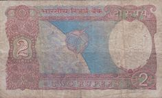 India, Two Rupees Banknote. (reverse)