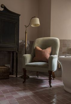 Restoration of a Regency villa from three flats to a single home Pastel Bathroom, Notting Hill London, London House, Bathroom Goals, Wingback Chair, Regency, Color Inspiration, Accent Chairs, Restoration
