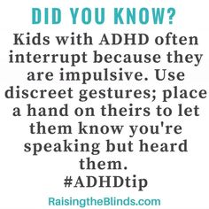 ADHD Tip to use when kids interrupt! Solve the problem without arguing and tears. From an ADHD Parenting website. ADHD Tip to use when kids interrupt! Solve the problem without arguing and tears. From an ADHD Parenting website. Best Parenting Books, Parenting Websites, Parenting Advice, Parenting Teenagers, Parenting Classes, Parenting Styles, Parenting Quotes, Adhd Odd, Adhd And Autism