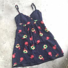 Betsey Johnson Vintage Floral Print Babydoll Dress Cute navy floral summer dress by Betsey Johnson. Babydoll style. In gently used condition, perfect for warmer weather. 100% silk exterior, 100% polyester lining. NO PAYPAL OR TRADES.                                                                        Blog: willbakeforshoes.com Twitter: @willbakeforshoe Instagram: @willbakeforshoes Betsey Johnson Dresses