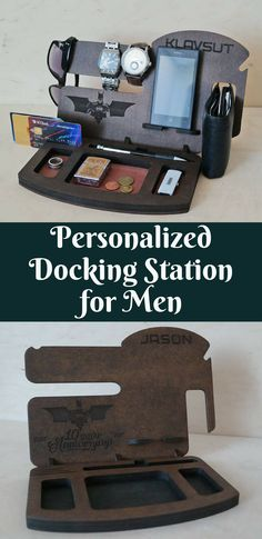 Gorgeous Docking Station for Men | Personalized Wood Docking Station | Custom Docking Station | Gift for Him | Gift for Dad | Gift for Husband | Gift for Boyfriend | Gift Idea | Christmas Gift #ad