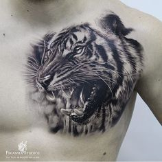 Tattooed by our resident artist Jaguar Chest Tattoo, Chest Tattoo Tiger, Mens Tiger Tattoo, Jaguar Tattoo, Tiger Tattoo Design, Tattoo Designs, Tigre Tattoo, Tattoo Oil, Tattoos For Guys