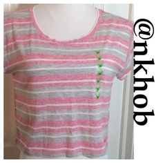 SELENA GOMEZ STRIPED CROP TEE Trendy crop top by Selena Gomez from her Dream Out Loud Collection in a pretty pink and gray. NWT Selena Gomez Tops Crop Tops