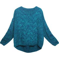 Relaxfeel Women's Blue Knit Sweater ($28) ❤ liked on Polyvore featuring tops, sweaters, blue, knit sweater, going out tops, knit tops, wet look top and party tops