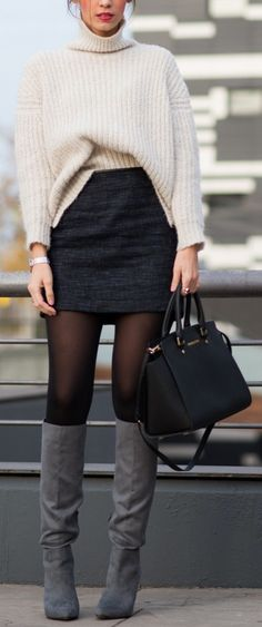 White knitted sweater, black skirt, bag, gray high boots. Street fall autumn women fashion outfit clothing style apparel @roressclothes closet ideas