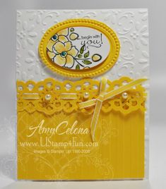 handmade greeting card ... Bordering on Romance flowers punched punched and framed ... bright yellow and white ... lacy paper band ... wide stripe embossing folder texture on the bottom and baroque flourishes on top ... pearls ... ribbon ... sunny and beautiful ... Stampin' Up!