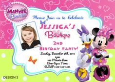 Minnie Mouse Bowtique Birthday Digital Invitations $8.99