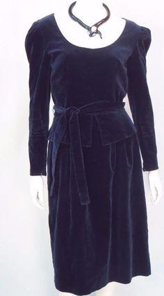 Vintage Guy Laroche Navy Blue Velvet Dress * #GuyLaroche #Peplum #Festive