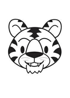 Kleurplaat kop tijger