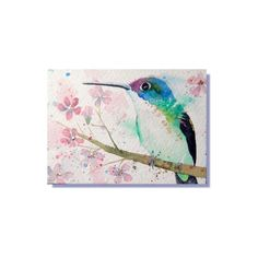 Lovely birds by Carolyn ACEO Original Art Andean Emerald Hummingbird  Watercolor Painting #Realism