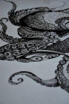 Octopus tattoo black and white.. Idea