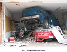 Ferrari crash. See what happens when jealous girlfriends and exotic cars don't mix right? Life becomes a wreck.  It's no accident.