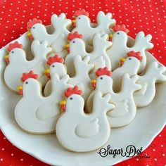 Sugar Dot Cookies: Chicken Cookies with Royal Icing