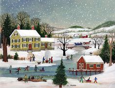 Limited Edition Folk Art Print - Skating by the Yellow House