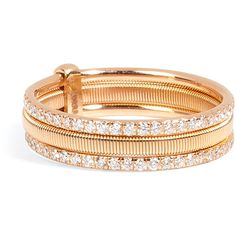 Ileana Makri 18kt Pink Gold Triple Bond Band ($4,175) ❤ liked on Polyvore featuring jewelry, rings, gold, pink white gold ring, red gold ring, triple band ring, pave diamond band ring and band rings