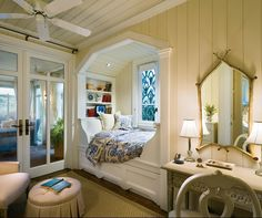 Seaside | The Lettered Cottage - I love this bed area - would be fabulous for a child's room.