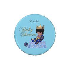 Baby Shower Blue Gold Boy crown prince Favor Jelly Belly Tin #baby #babyshower #shower #cute #custom #candytins #tins #boy