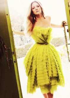 137699251b4 Drew in chartreuse #yellow #color John Galliano, Drew Barrymore, Dress Me Up