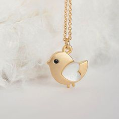 SALE - Gold Baby Chick Necklace, Tiny Bird Charm Necklace, Adorable Whimsical Jewelry on Etsy, $12.50